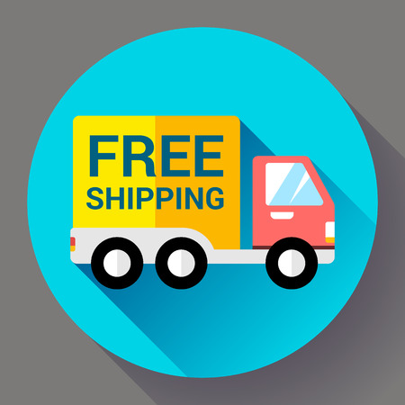 retailing: Car Shipping icon. Fast and free delivery concept. Flat design style.
