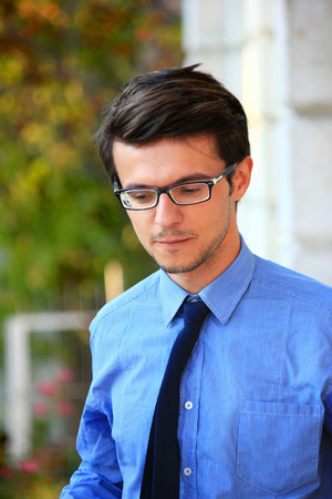 mid adult: Closeup portrait of mid adult man in glasses. Stock Photo