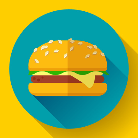 sesame seed: hamburger icon with long shadow. Flat design style