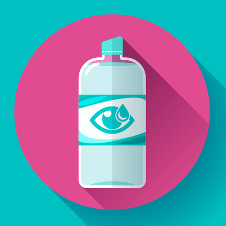 disinfection: Contact lens daily solution icon with long shadow. Flat design style