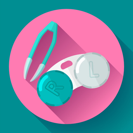 contact lens: Contact lens case. Container and tweezers, for contact lenses  Flat icon with long shadow Illustration