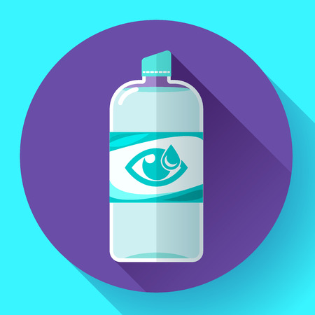 contact lens: Contact lens daily solution icon with long shadow. Flat design style