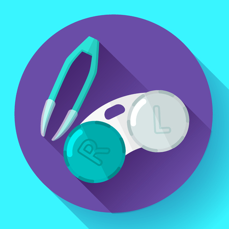 disinfection: Contact lens case. Container and tweezers, for contact lenses  Flat icon with long shadow Illustration