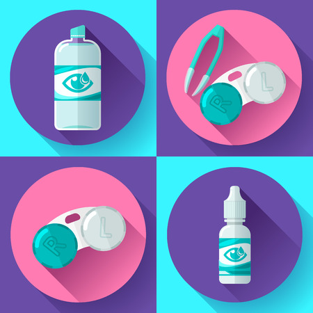 Contact lens Container, daily solution, eye drops and tweezers flat icons Illustration