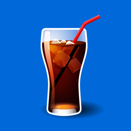 swill: Cola glass with ice cubes isolated on blue photo-realistic vector illustration Illustration