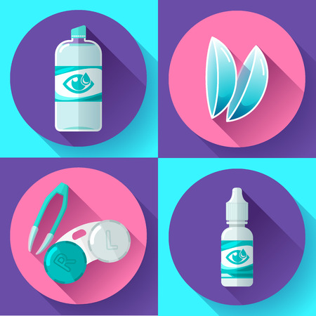 Contact lens Container, daily solution, eye drops and tweezers flat icons 向量圖像