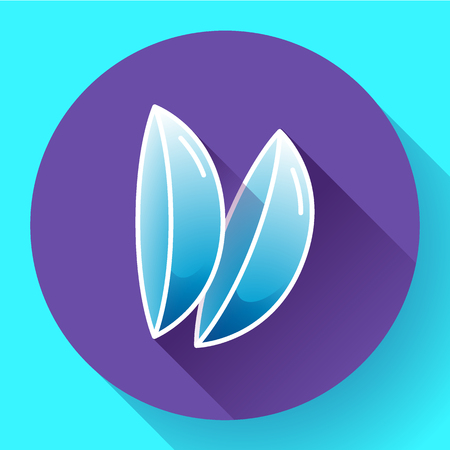 opthalmology: Two contact lenses icon. Flat design style Illustration