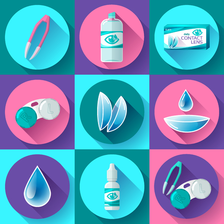 contact lenses icon set. Flat design style 向量圖像