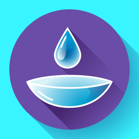 opthalmology: Contact lense with water drop icon. Flat design style Illustration