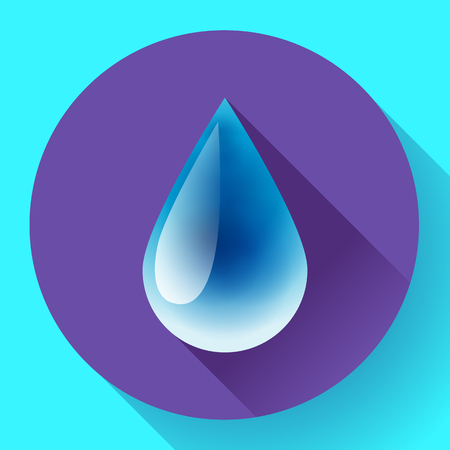 condensation on glass: Blue shiny water drop with shadow. Flat design style