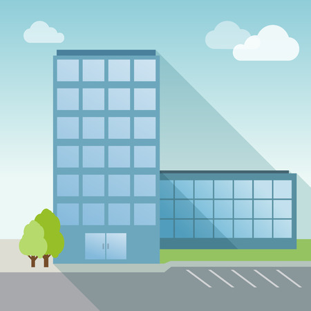 office building: Office Building flat with long shadow. Day time Illustration
