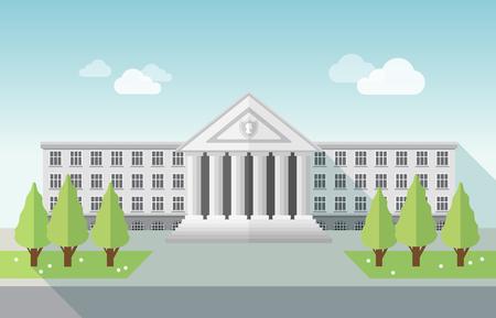 Vooraanzicht van de universiteit of de overheid gebouw in vlakke stijl