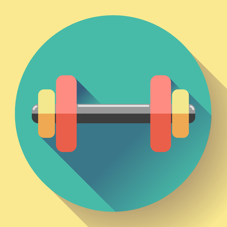 sports shell: Color dumbbell icon with long shadow. Symbol of gum and fitness. Flat design style. Illustration