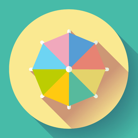 Beach umbrella, top view icon. Vector. Flat design style