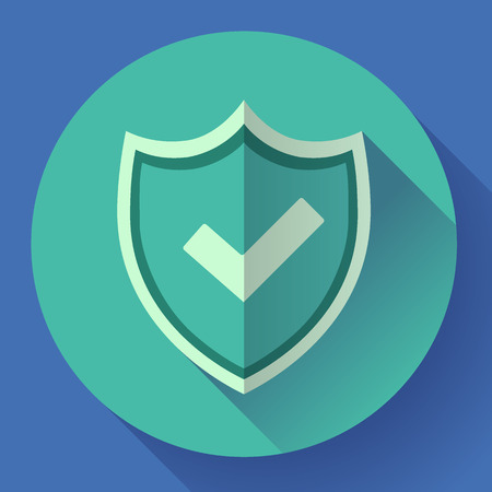 counsel: shield icon - protection symbol. Flat design style Illustration