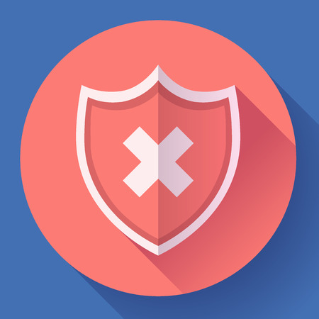 discontinued: shield icon - protection symbol. Flat design style Illustration