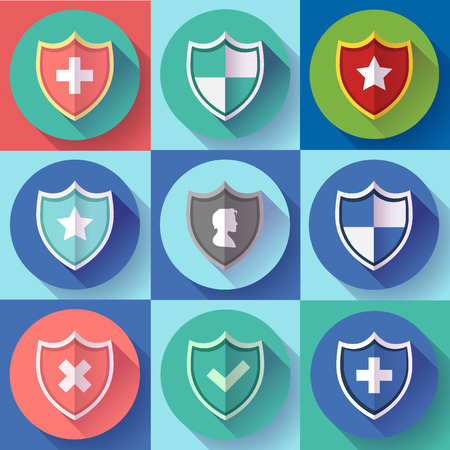counsel: Security shield icon set - protection symbols. Flat design style