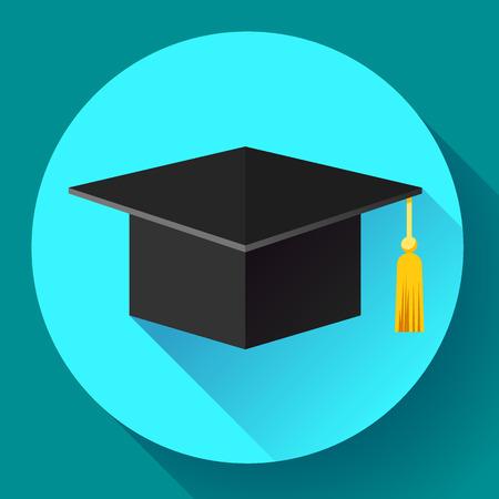 the alumnus: Student graduation cap icon. Flat design style
