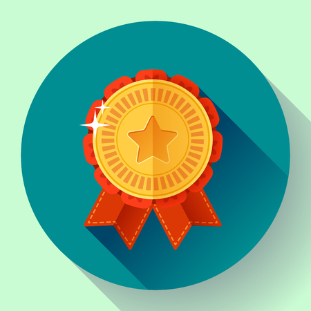 place to shine: Gold medal with ribbons badge icon. Flat design style