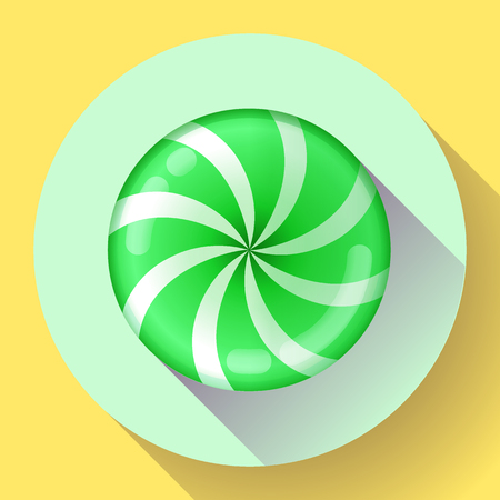toffee: Sweet lollipop candie icon. Flat design style