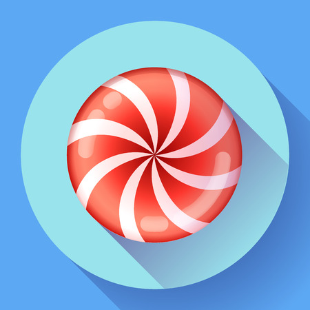 cartoon banner: Sweet lollipop candie icon. Flat design style