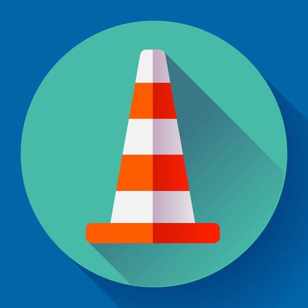 symbol traffic: Traffic cone color icon. under construction symbol. Flat design style Illustration