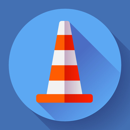 under construction symbol: Traffic cone color icon. under construction symbol. Flat design style Illustration