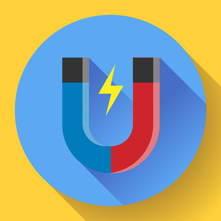 magnetism: Vector icon horseshoe magnet. Symbol magnetism magnetizing attraction. Concept of physics icon, science, education. Flat design style.