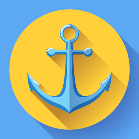 crook: Anchor text icon, vector illustration. Flat design style