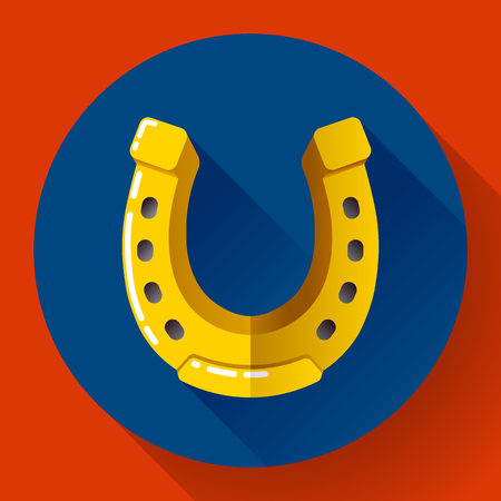 an amulet: Vector Golden Horseshoe icon. Flat design style