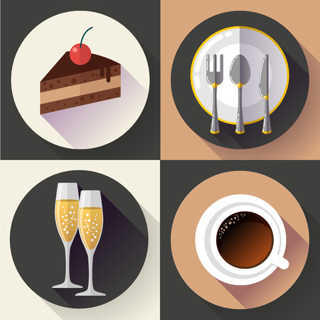 restaurant icons: Restaurant and food icons set, vector. Flat design style