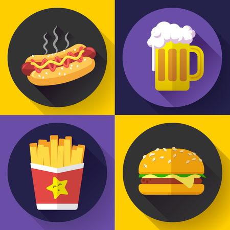 dog bite: Set of fast food menu and beer icons. Flat design style