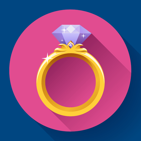 affiance: Diamond gold ring icon. Flat 2.0 vector design style with long shadow.