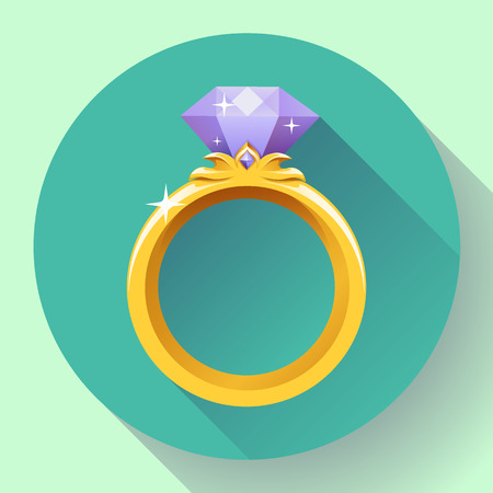 ring: Diamond gold ring icon. Flat 2.0 vector design style with long shadow.