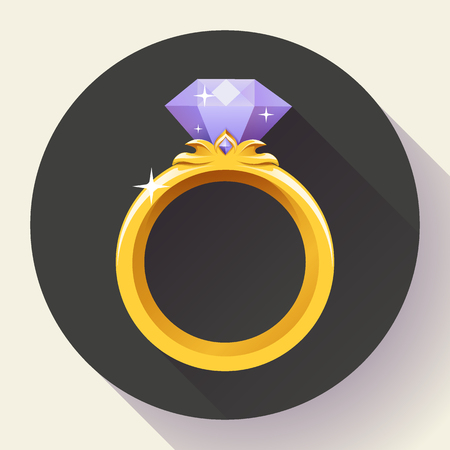 gold ring: Diamond gold ring icon. Flat 2.0 vector design style with long shadow.