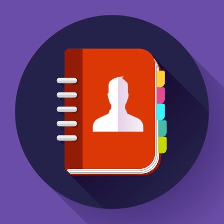 phone book: Address phone book icon, notebook icon. Flat design style. Illustration