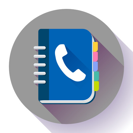 Address phone book icon, notebook icon. Flat design style. Иллюстрация