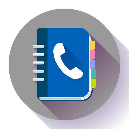 Address phone book icon, notebook icon. Flat design style. Stock Illustratie
