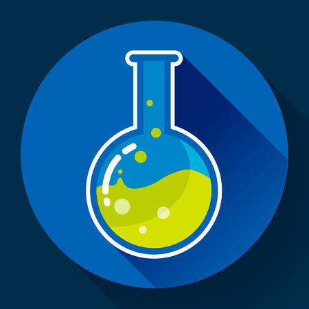 matraz de laboratorio de química redondo con el icono de líquido. estilo de diseño plano