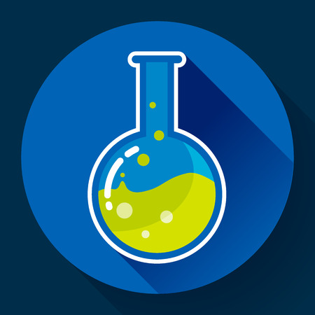 chemical experiment: Round chemical lab flask with liquid icon. Flat design style