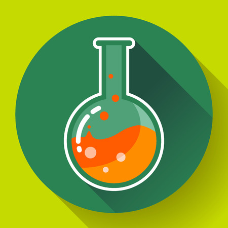 volumetric flask: Round chemical lab flask with liquid icon. Flat design style