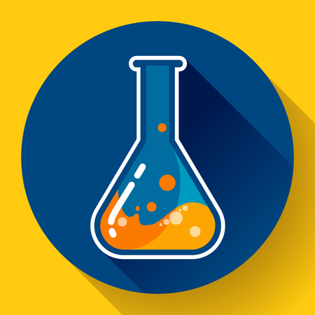 distilling: Chemical lab flask with liquid icon. Flat design style