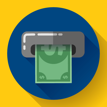 bankomat: Getting money from an ATM bankomat card symbol icon. Flat design style