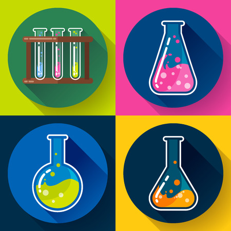 distilling: Set of Chemical lab flasks icons - test tubes, round bulb and triangular. With colored liquid. Flat design style