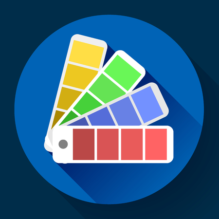 color guide: Color guide swatches palette - typographic fan icon. Flat design style