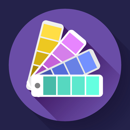 chromatic colour: Color guide swatches palette - typographic fan icon. Flat design style