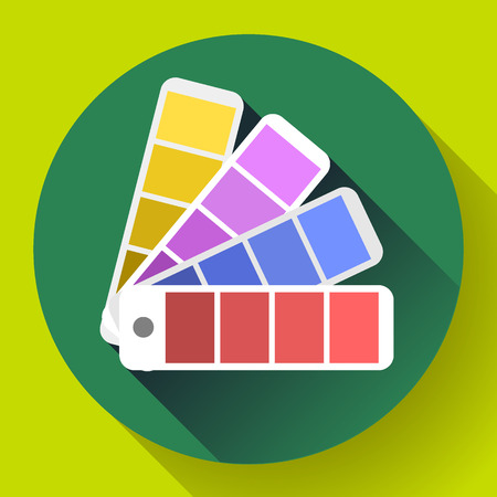 Color guide swatches palette - typographic fan icon. Flat design style Vetores