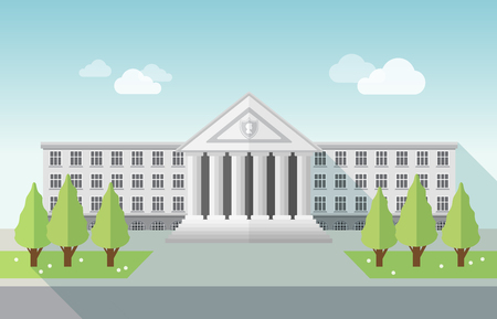 background house: Front view of university or government building in flat style Illustration