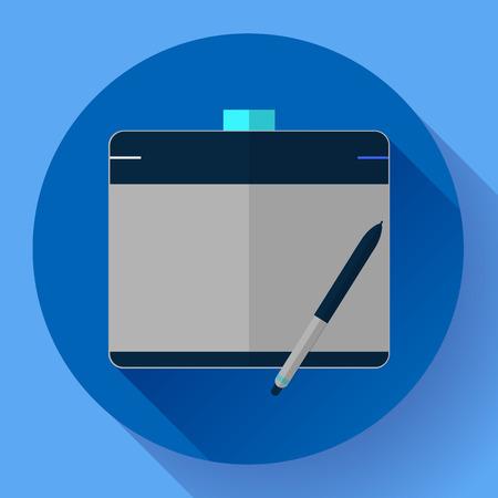 digitizer: Graphic tablet icon. CG artist and Designer symbol. Flat design style