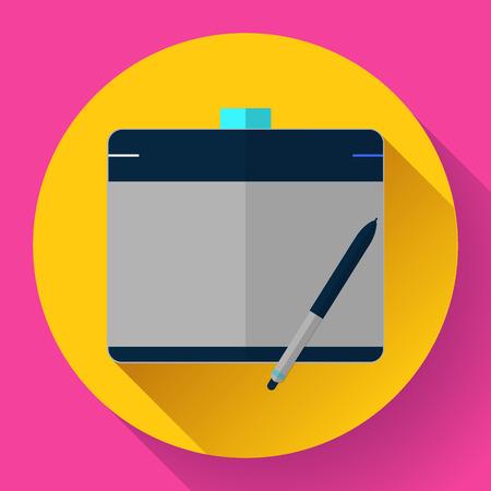 cg: Graphic tablet icon. CG artist and Designer symbol. Flat design style
